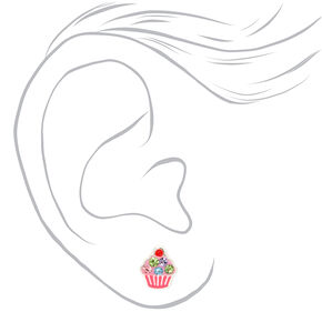 Sterling Silver Embellished Cupcake Stud Earrings - Pink,
