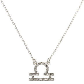 Silver Zodiac Pendant Necklace - Libra,