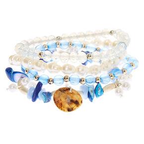 Silver Puka Stone Stretch Bracelets - Blue, 4 Pack,