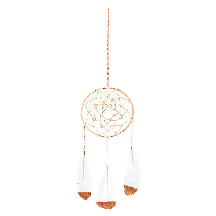 Metallic Feather Hanging Wall Art - Rose Gold,