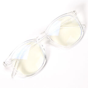 Solar Blue Light Reducing Round Clear Lens Frames - Clear,