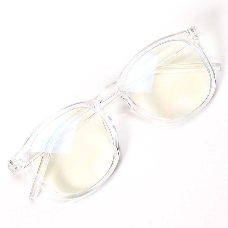 Blue Light Reducing Round Clear Lens Frames - Clear,