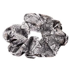 Medium Velvet Snakeskin Hair Scrunchie - Grey,