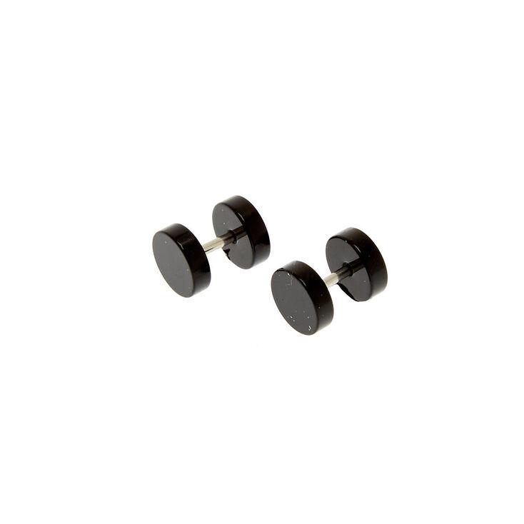 Black Faux Ear Plug Earrings,