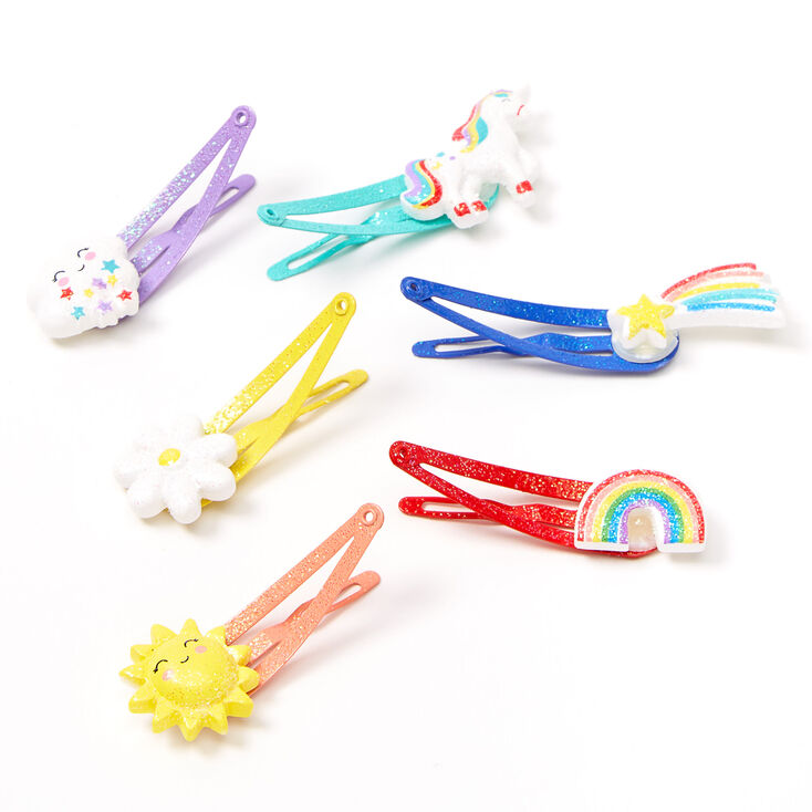 Claire's Club Sunshine & Rainbows Snap Hair Clips - 6 Pack,