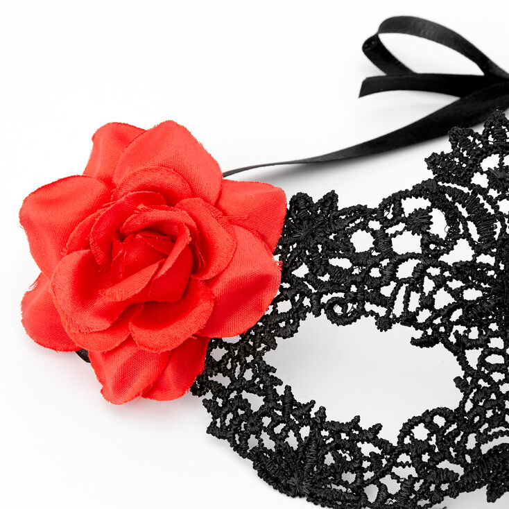 Day Of The Dead Lace Mask - Black,