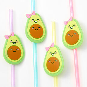 Pastel Avocado Plastic Straws - 4 Pack,