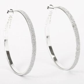 Silver 40MM Thin Glitter Hoop Earrings,
