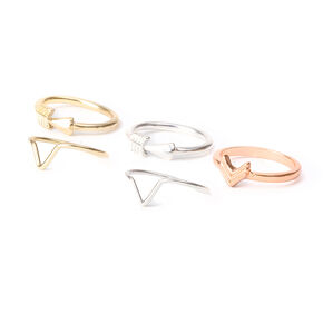 Mixed Metal Arrow Midi Rings - 5 Pack,