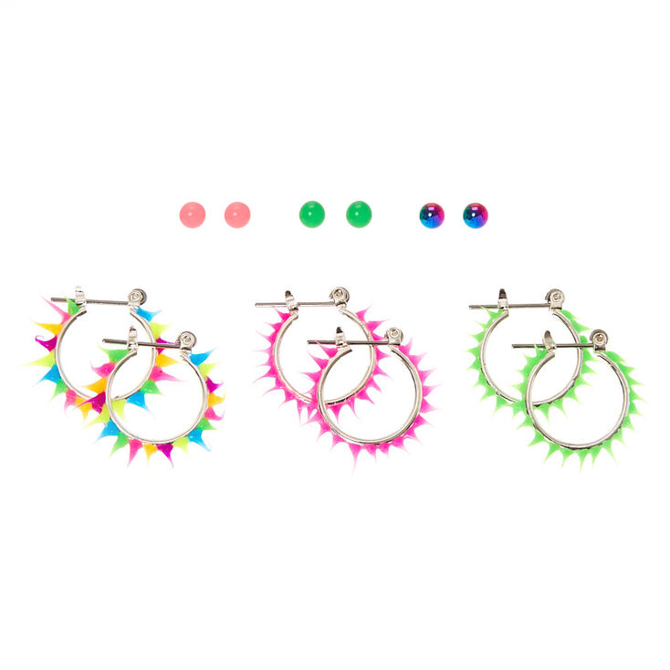 6 Pack Neon Rave Stud & Hoop Earrings,