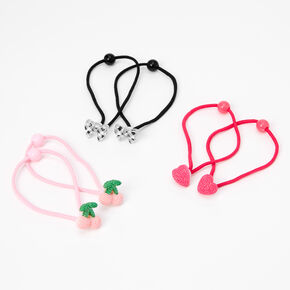 Claire's Club Bows, Hearts, & Cherries Hair Ties - 6 Pack,