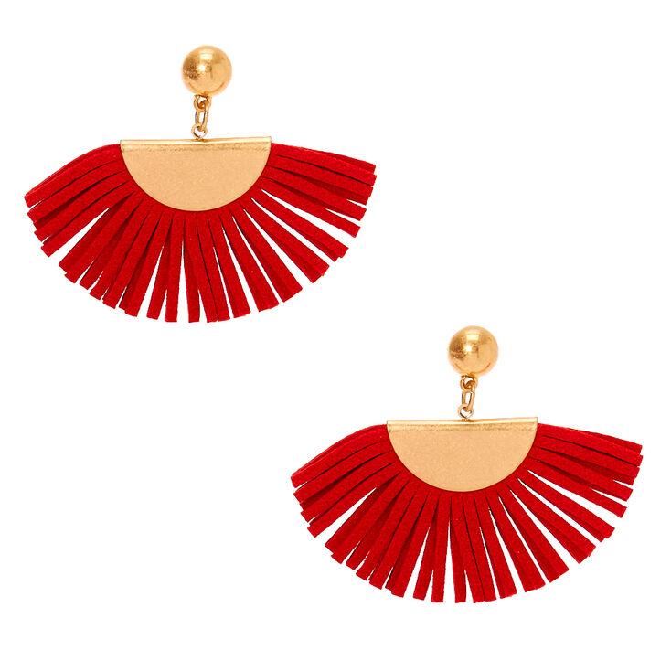 """Gold 1.5"""" Suede Tassel Fan Drop Earrings - Red,"""