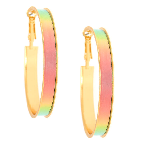 Claire's - 50mm tone holographic hoop earrings - 2