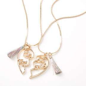 Best Friends Gold Script Heart Pendant Necklaces - 2 Pack,