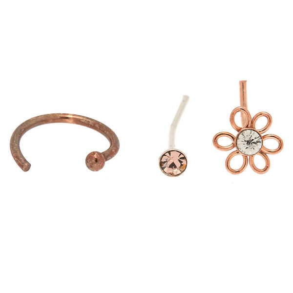 Claire's - rose sterling silver 22g flower nose studs & ring set - 2