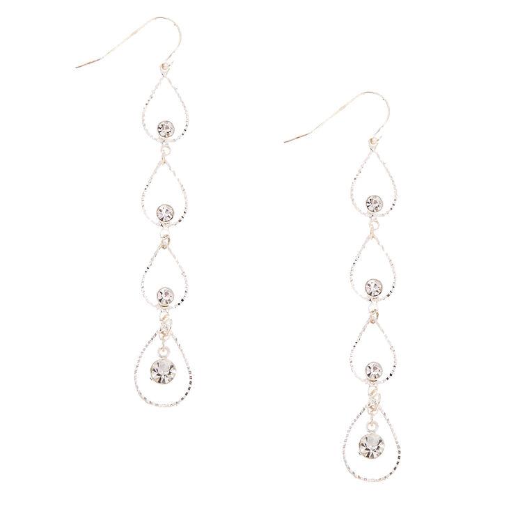 Silver-tone Linear Open Tear Drop  Earrings,