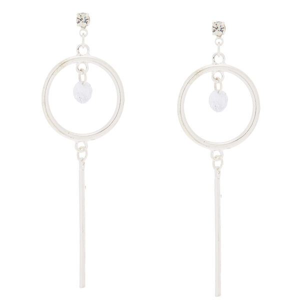 "Claire's - cubic zirconia 2.5"" circle drop earrings - 1"