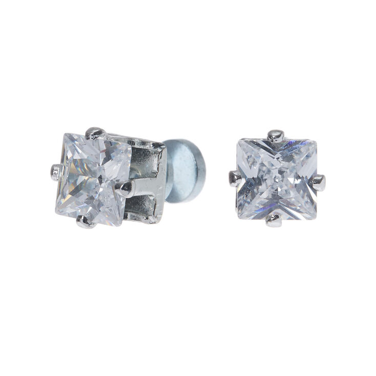 b46e2e29d Silver Cubic Zirconia 5MM Square Magnetic Stud Earrings | Claire's US