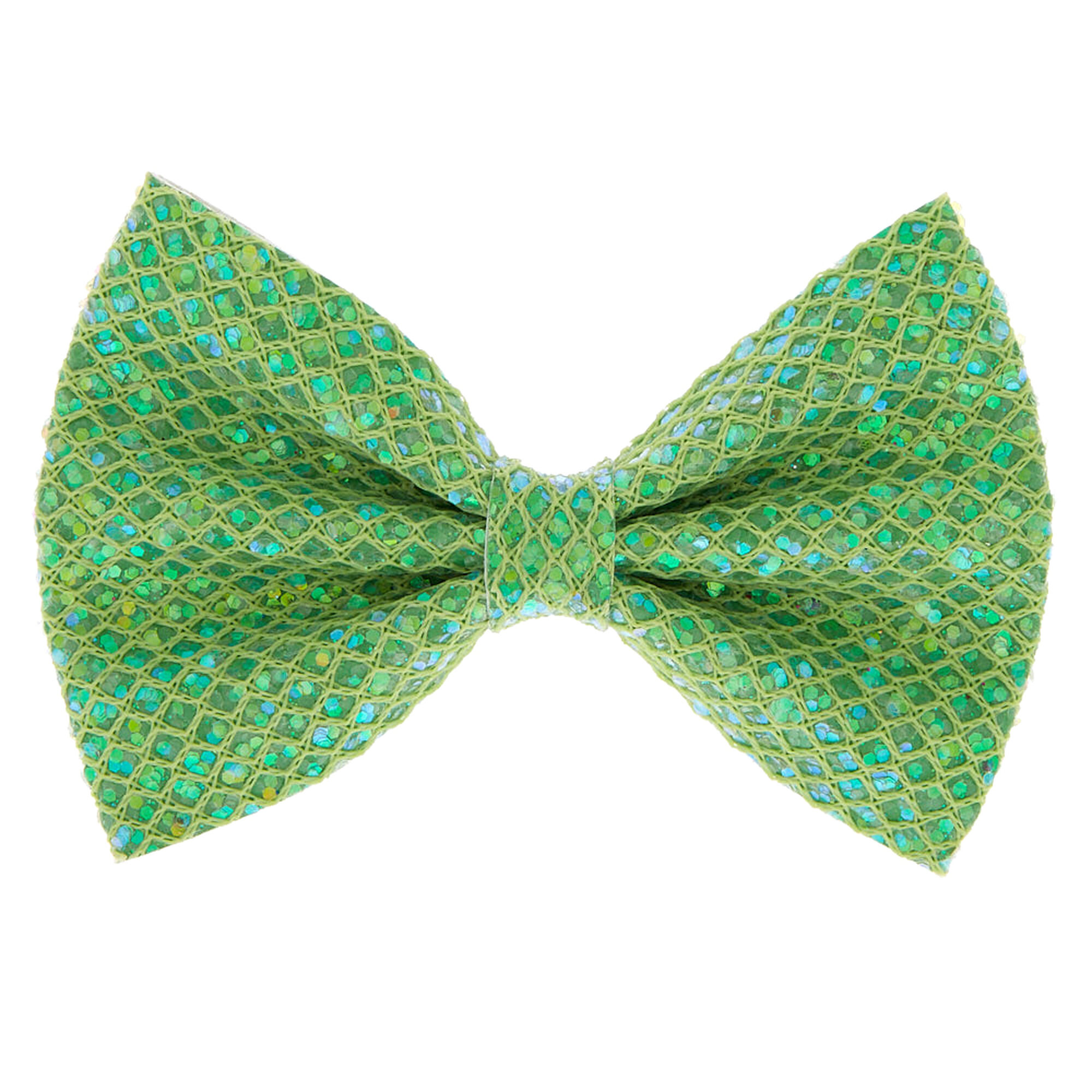 White with Green Glitter Hair Bow