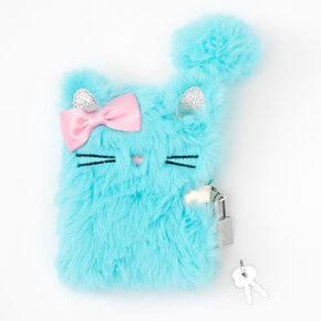 Claire's Club Kitty Lock Plush Diary - Mint,
