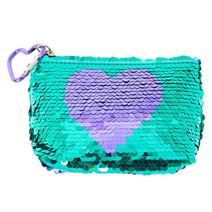 Reversible Sequin Heart Zip Coin Purse,