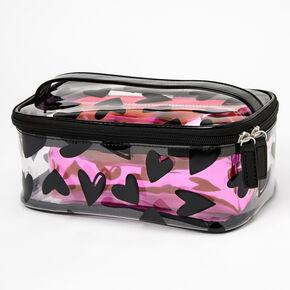 Black Hearts & Pink Metallic 2-in-1 Makeup Cases - 2 Pack,
