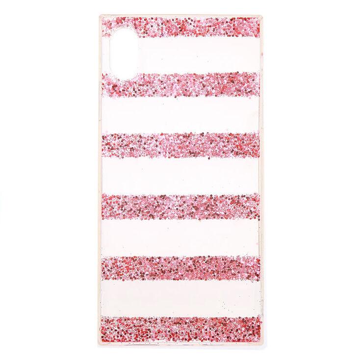 Pink Glitter Striped Phone Case - Fits iPhone XS Max,