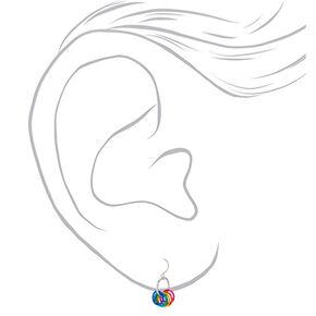 """1"""" Rainbow Rings Drop Earrings,"""
