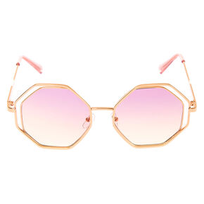 Double Octagon Sunglasses - Rose Gold,