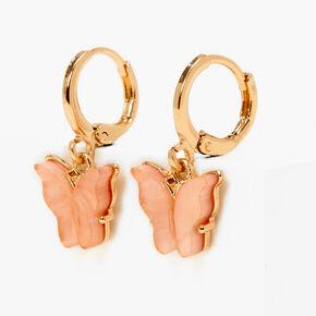 Gold 10MM Butterfly Huggie Hoop Earrings - Pink,
