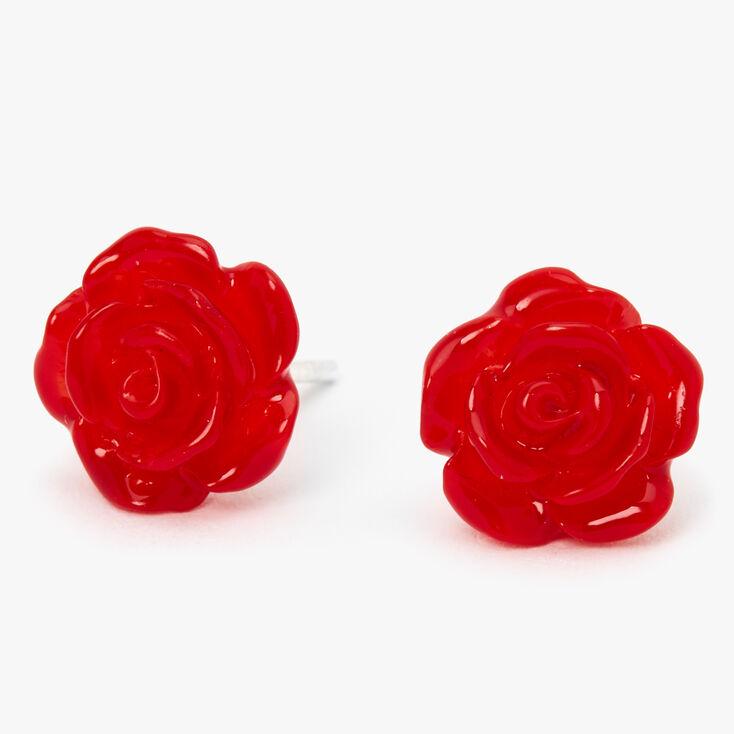 Clous d'oreilles rose sculptée couleur argentée - Rouge,