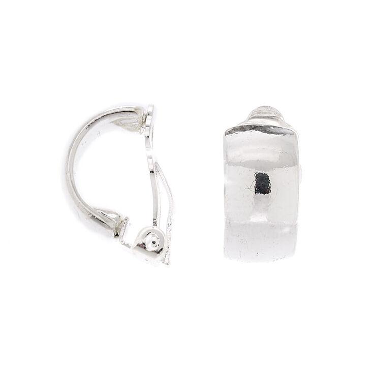 Silver 10MM Clip On Half Hoop Earrings,