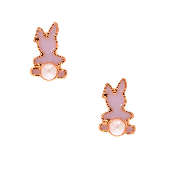 Claire's - 18kt gold plated pearl bunny earrings - 1