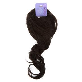 Élastique avec longs cheveux synthétiques bouclés noirs,