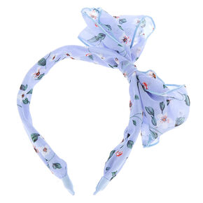 Floral Knot Bow Headband - Powder Blue,