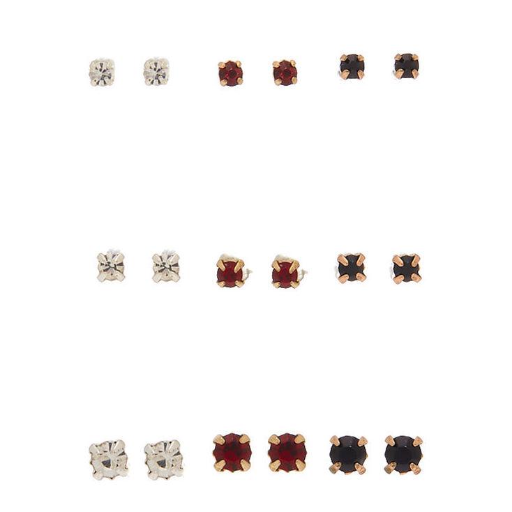 Mixed Metal Cubic Zirconia Graduated Stud Earrings - 9 Pack,