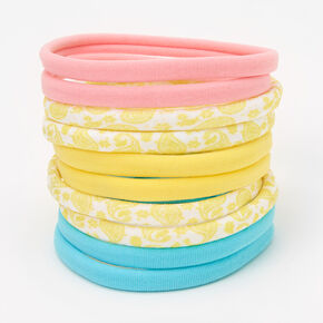 Yellow Paisley Rolled Hair Ties - 10 Pack,
