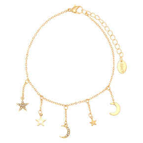 Gold Moon & Star Charm Anklet,