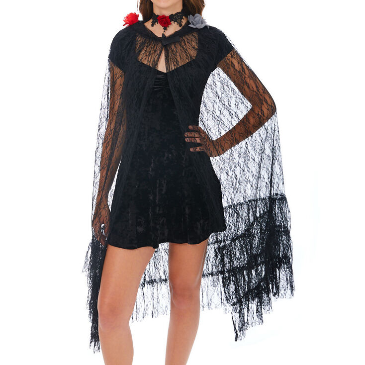 Gothic Day of the Dead Lace Cape - Black,