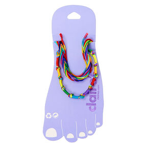 Gold Rainbow Cord Anklets - 3 Pack,