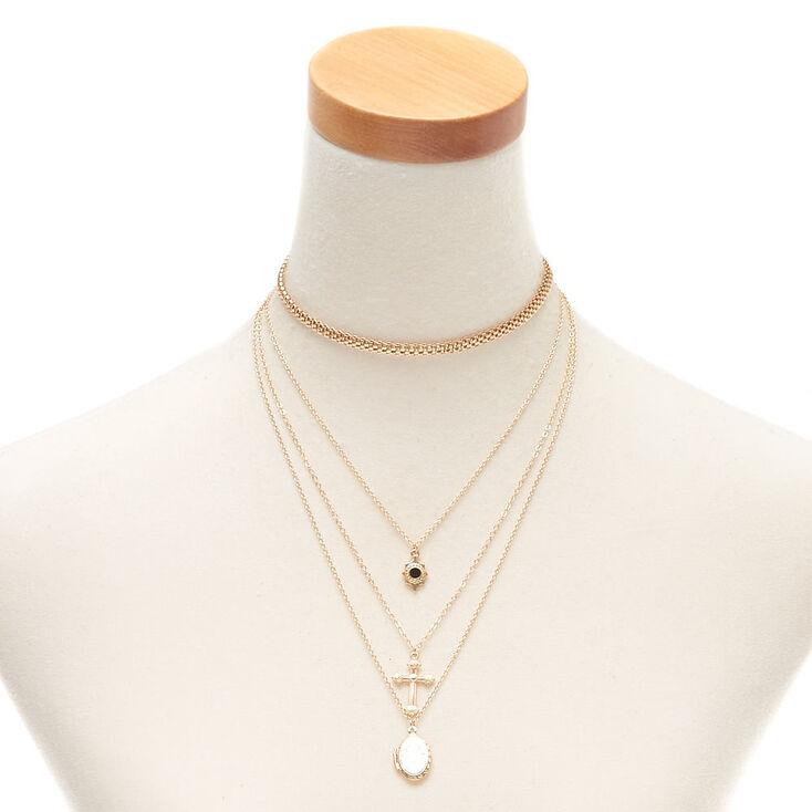 Gold Cross Locket Multi Strand Necklace,
