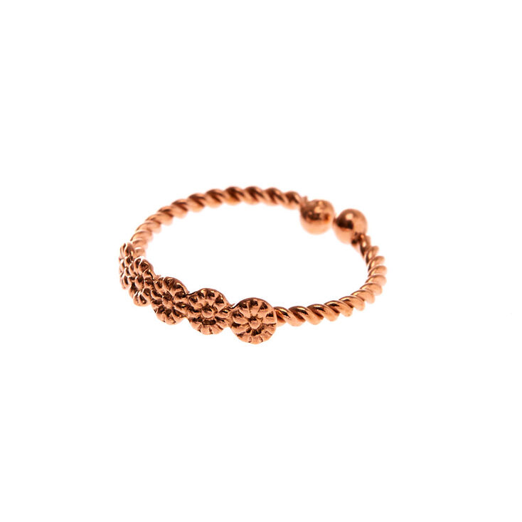 Sterling Silver Rose Gold Faux Twisted Nose Ring,