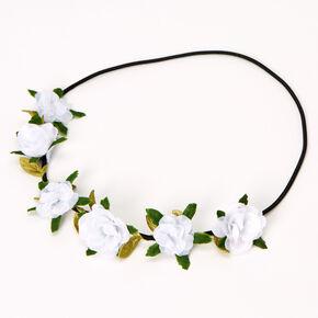 Couronne de fleurs avec feuilles et roses - Ivoire,
