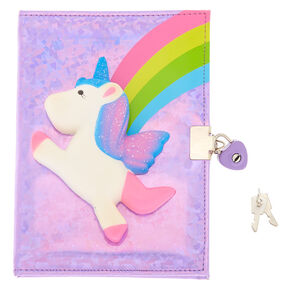 Rainbow Unicorn Squish Lock Notebook - Pink,