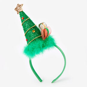 Glitter Christmas Tree Headband - Green,