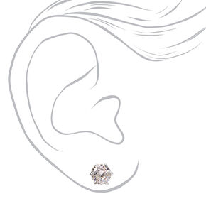 Silver Cubic Zirconia Round Magnetic Stud Earrings - 5MM, 6MM, 7MM,