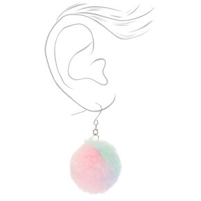 "Silver 2"" Pastel Tie Dye Pom Pom Drop Earrings,"