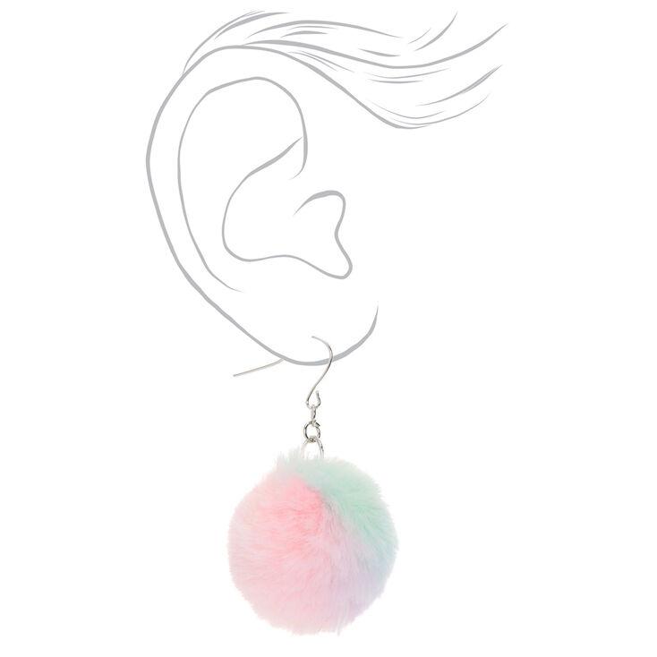"""Silver 2"""" Pastel Tie Dye Pom Pom Drop Earrings,"""