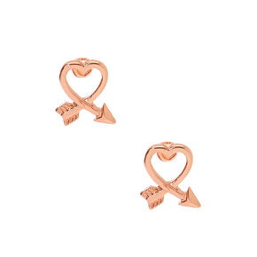 18kt Rose Gold Plated Cross My Heart Stud Earrings,