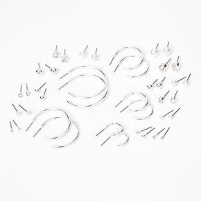 Clous d'oreilles aux designs variés de différentes tailles couleur argentée — Lot de 20,